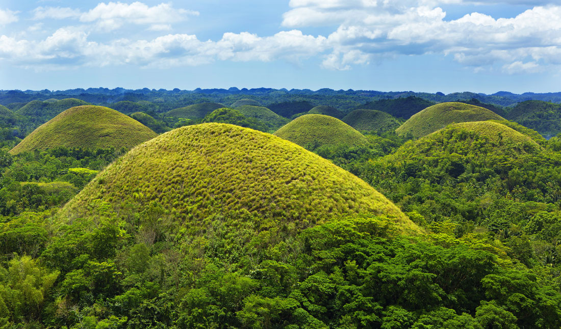 Chocolate hills i Bohol Island, Filippinerna